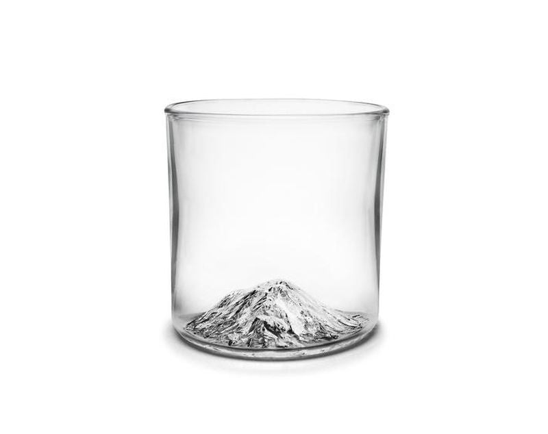 Handblown tumbler glass with Mt Shasta molded into the bottom of the glass.