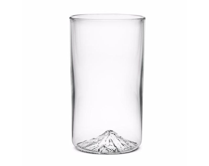 Handblown pint glass with Mt Hood molded into the bottom of the glass.
