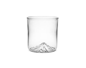 Handblown tumbler glass with Mt Hood molded into the bottom of the glass.