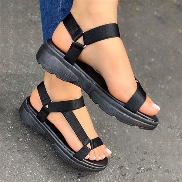 Vickymoda Women Simple Velcro Cross-Strap Platform Sandals