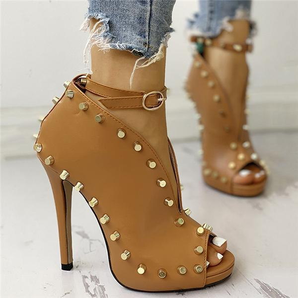 Vickymoda Rivet Embellished Hollow Out Buckle High Heeled Sandals