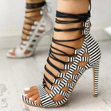 Vickymoda Open Toed Lace-Up Thin Heeled Sandals