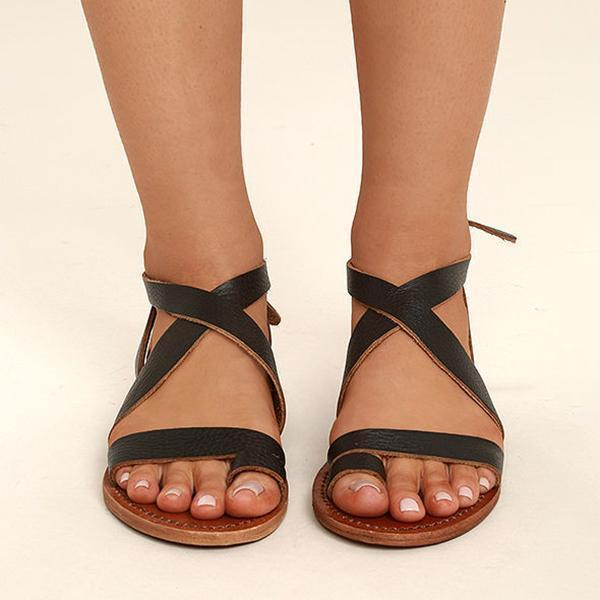 Vickymoda Dark Adjustable Buckle Casual Flat Heel Sandals