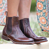 Vickymoda Vintage Low Heel Pull-on Ankle Boots