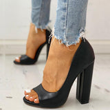 Vickymoda Solid Peep Toe Casual Heeled Sandals