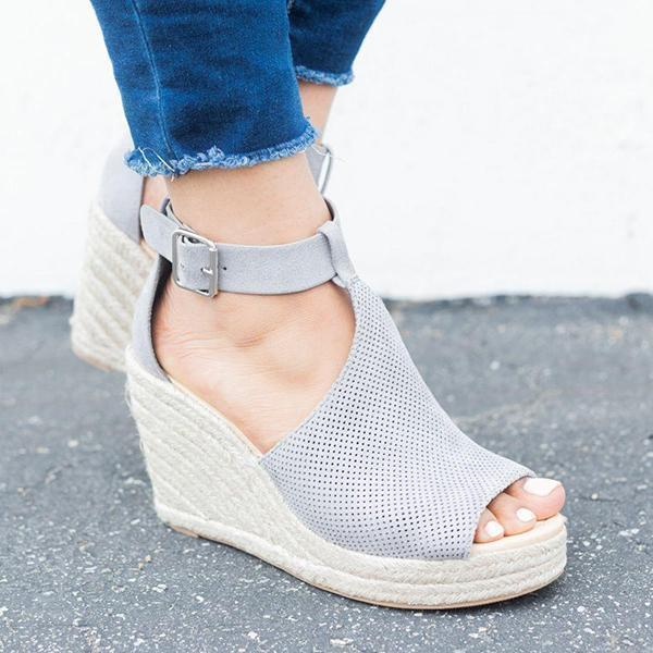 Vickymoda Chic Espadrille Wedges Adjustable Buckle Sandals