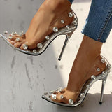 Vickymoda Transparent Studded Thin Heels