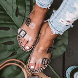 Vickymoda Clear Straps Silver Buckles Cheetah Slippers