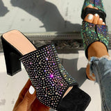 Vickymoda Glitter Hot Stamping Open Toe Slingback Chunky Heeled Sandals