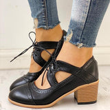 Vickymoda Lace-Up Cut Out Chunky Heels