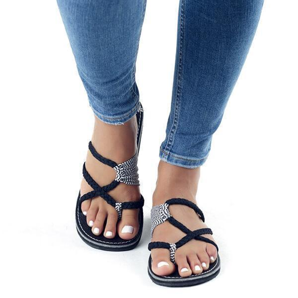 Vickymoda Oceanside Rope Flats Sandals