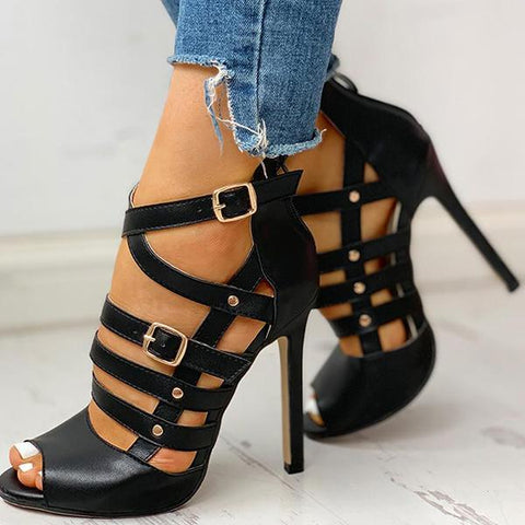 Vickymoda Solid Hollow Out Ankle Strap Thin Heeled Sandals
