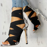 Vickymoda Lace-Up Bandage Patchwork Snakeskin Thin Heeled Sandals