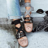 Vickymoda Blet Buckle Bow Lace Up Flats