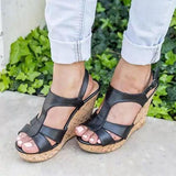 Vickymoda Fashion Platform Buckle High Wedge Sandals