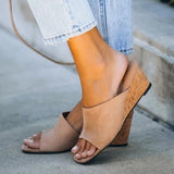 Vickymoda Suede Square Head Wedge Sandals