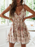 Vickymoda Summer New Sexy Deep-v Backless Beach Vacation Printed Dress