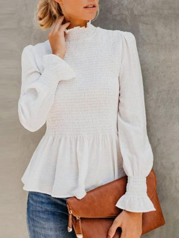 Vickymoda High Neck Plain Bell Sleeve Blouse