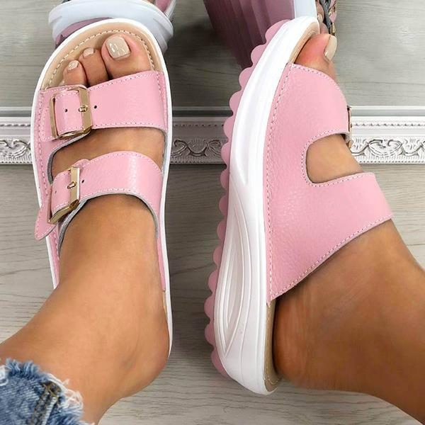 Vickymoda Women Casual Buckle Open Toe Slippers