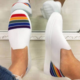 Vickymoda Women Comfy Flyknit Fabric Hit Color Rainbow Slip On Platform Loafers