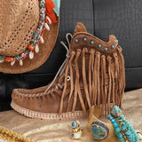 Vickymoda Tassel Wedge Heel Faux Suede Spring/fall Boots
