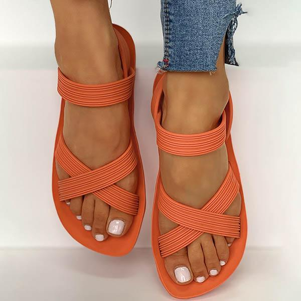 Vickymoda Solid Crisscross Strap Flat Sandals