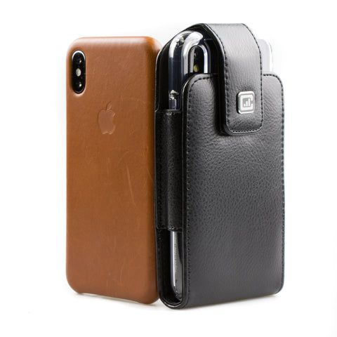 CASE123® MPS Classic TLS Elite Premium Genuine Leather Oversized Vertical Swivel Belt Clip Holster for Apple iPhone X for use with Apple leather case, TPU covers, and more
