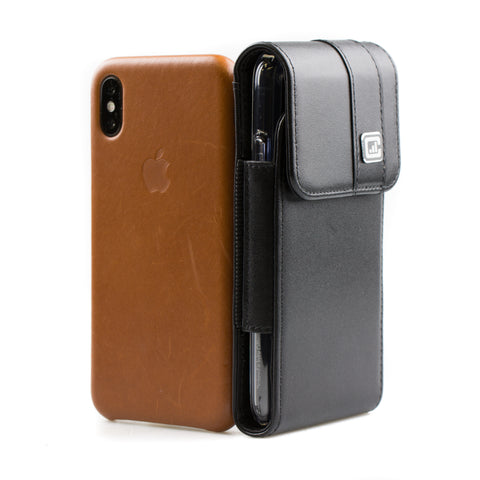 CASE123® MPS Mk II TLS Premium Genuine Leather Oversized Vertical Swivel Belt Clip Holster for Apple iPhone X for use with Apple leather case, TPU covers, and more