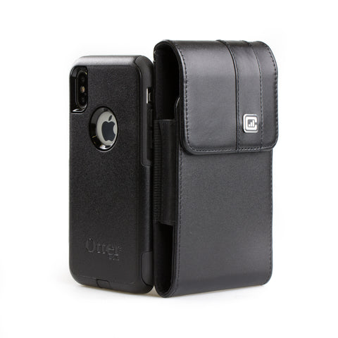 CASE123® MPS Mk II TL Premium Genuine Leather Oversized Vertical Swivel Belt Clip Holster for Apple iPhone X for use with Otterbox Commuter, Symmetry Series Cases, and more - Black
