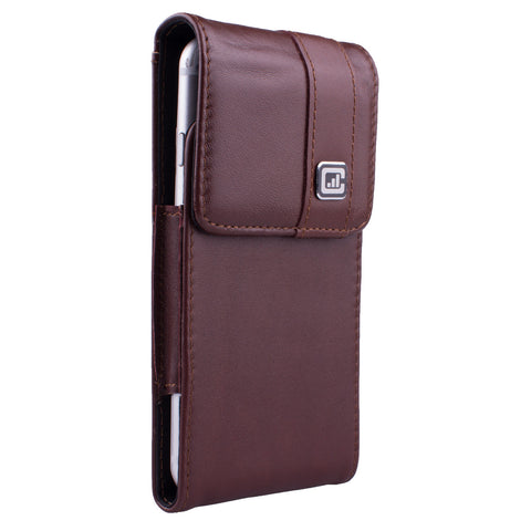 CASE123® MPS Mk II SL Premium Genuine Leather Vertical Swivel Belt Clip Holster for Apple iPhone 8/7/6/6s (4.7 inch screen) - Dark Cognac Brown