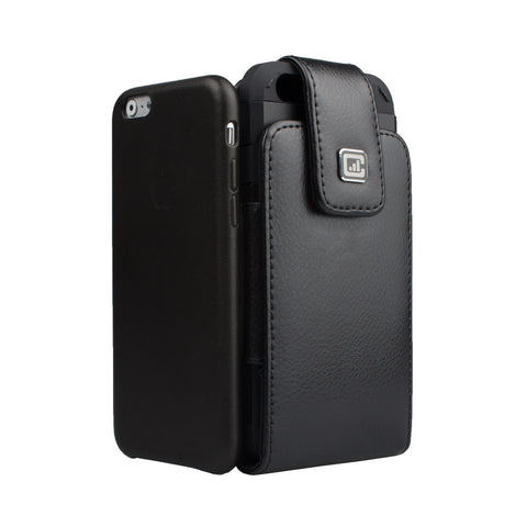 CASE123® MPS Classic TLS Elite Premium Genuine Leather Oversized Vertical Swivel Belt Clip Holster for Apple iPhone 8/7/6/6s (4.7 inch screen) for use with Apple leather case, Incipio Feather, TPU covers, and more