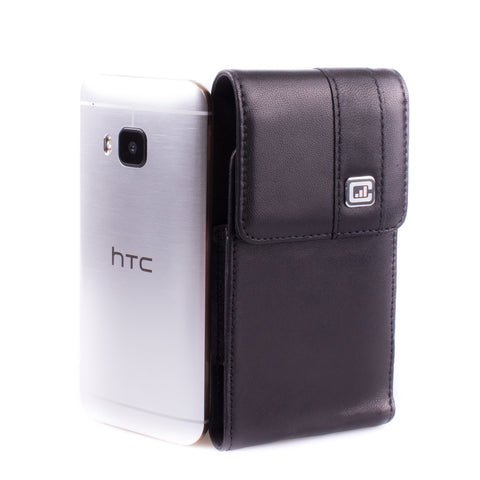 CASE123® MPS Mk II SL Premium Genuine Leather Vertical Swivel Belt Clip Holster for HTC One M9