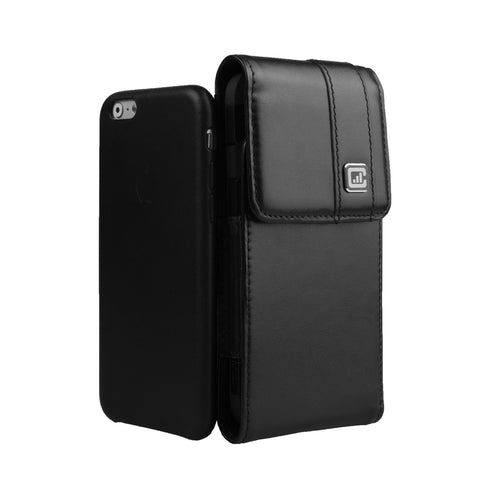 CASE123® MPS Mk II TLS Premium Genuine Leather Vertical Swivel Belt Clip Holster for Apple iPhone 8/7/6/6s (4.7 inch screen) for use with Apple Leather Case, Incipio Feather, TPU covers, and more