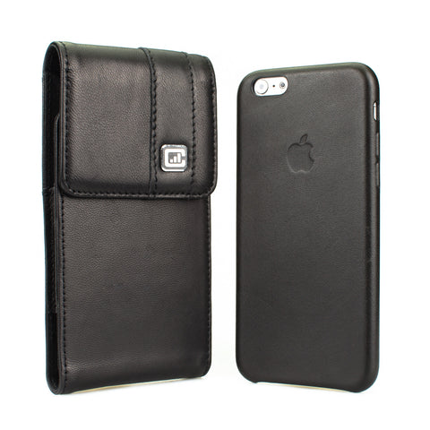 CASE123® MPS Mk II TLS Premium Genuine Lambskin Leather Vertical Oversized Swivel Belt Clip Holster for Apple iPhone 8/7/6/6s (4.7 inch screen) for use with Apple Leather Case, Incipio Feather, TPU covers, and more