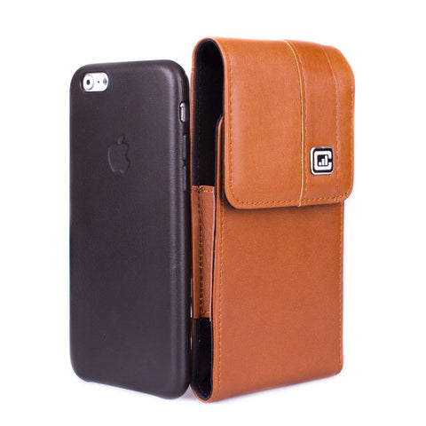 CASE123® MPS Mk II TLS Premium Genuine Leather Vertical Swivel Belt Clip Holster for Apple iPhone 8/7/6/6s (4.7 inch screen) for use with Apple Leather Case, Incipio Feather, TPU covers, and more - Medium Brown