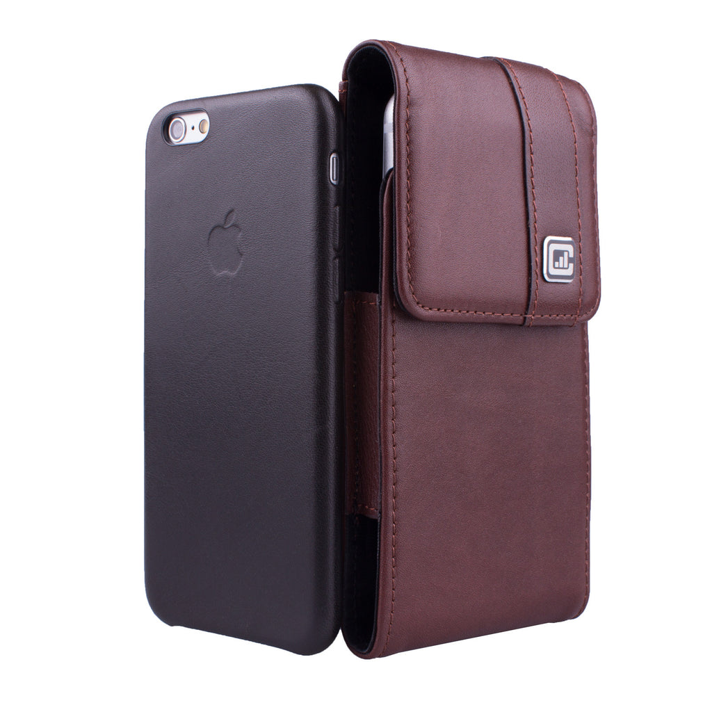 CASE123® MPS Mk II TLS Premium Genuine Leather Vertical Swivel Belt Clip Holster for Apple iPhone 6/6s/7 (4.7 inch screen) for use with Apple Leather Case, Incipio Feather, TPU covers, and more - Dark Cognac Brown