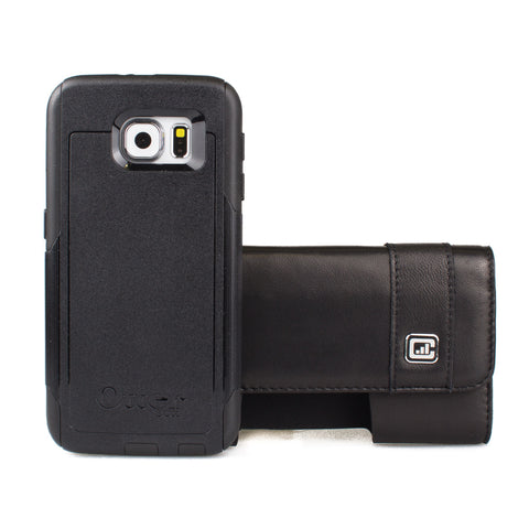 CASE123® MPS Mk II TL Premium Genuine Lambskin Leather Horizontal Large Oversized Swivel Belt Clip Holster for Samsung Galaxy S6 & S6 Edge for use with Otterbox Commuter, Otterbox Symmetry, Spigen Tough Armor, and more