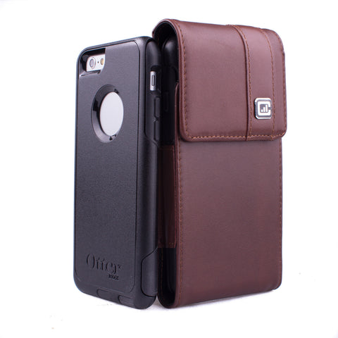 CASE123® MPS Mk II TL Premium Genuine Leather Vertical Swivel Belt Clip Holster for Apple iPhone 8/7/6/6s (4.7 inch screen) - Dark Cognac Brown