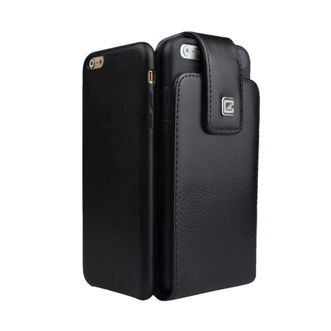 CASE123® MPS Classic TLS Elite Premium Genuine Leather Oversized Vertical Swivel Belt Clip Holster for Apple iPhone 8/7/6/6s Plus (5.5 inch screen) for use with Apple leather case, Incipio Feather, Incipio NGP, TPU covers, and more