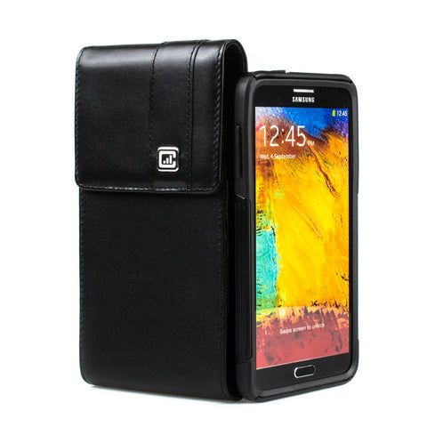 CASE123® MPS Mk II TL Premium Genuine Leather Vertical Swivel Belt Clip Holster for Samsung Galaxy Note 4 for use with Otterbox Commuter/Symmetry Series and other Rugged Cases