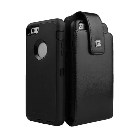 CASE123® MPS Classic XLR Elite Premium Genuine Leather Oversized Vertical Swivel Belt Clip Holster for Apple iPhone 8/7/6/6s Plus (5.5 inch screen) for use with Otterbox Defender and Mophie Battery Case