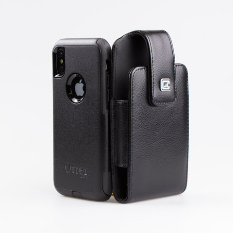 CASE123® MPS Classic TL Elite Premium Genuine Leather Oversized Vertical Swivel Belt Clip Holster for Apple iPhone X for use with Otterbox Commuter, Symmetry Series Cases, and more