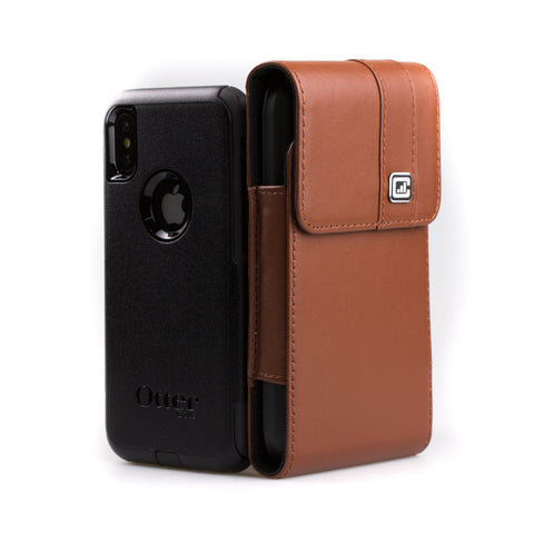 CASE123® MPS Mk II TL Premium Genuine Leather Oversized Vertical Swivel Belt Clip Holster for Apple iPhone X for use with Otterbox Commuter, Symmetry Series Cases, and more - Medium Brown