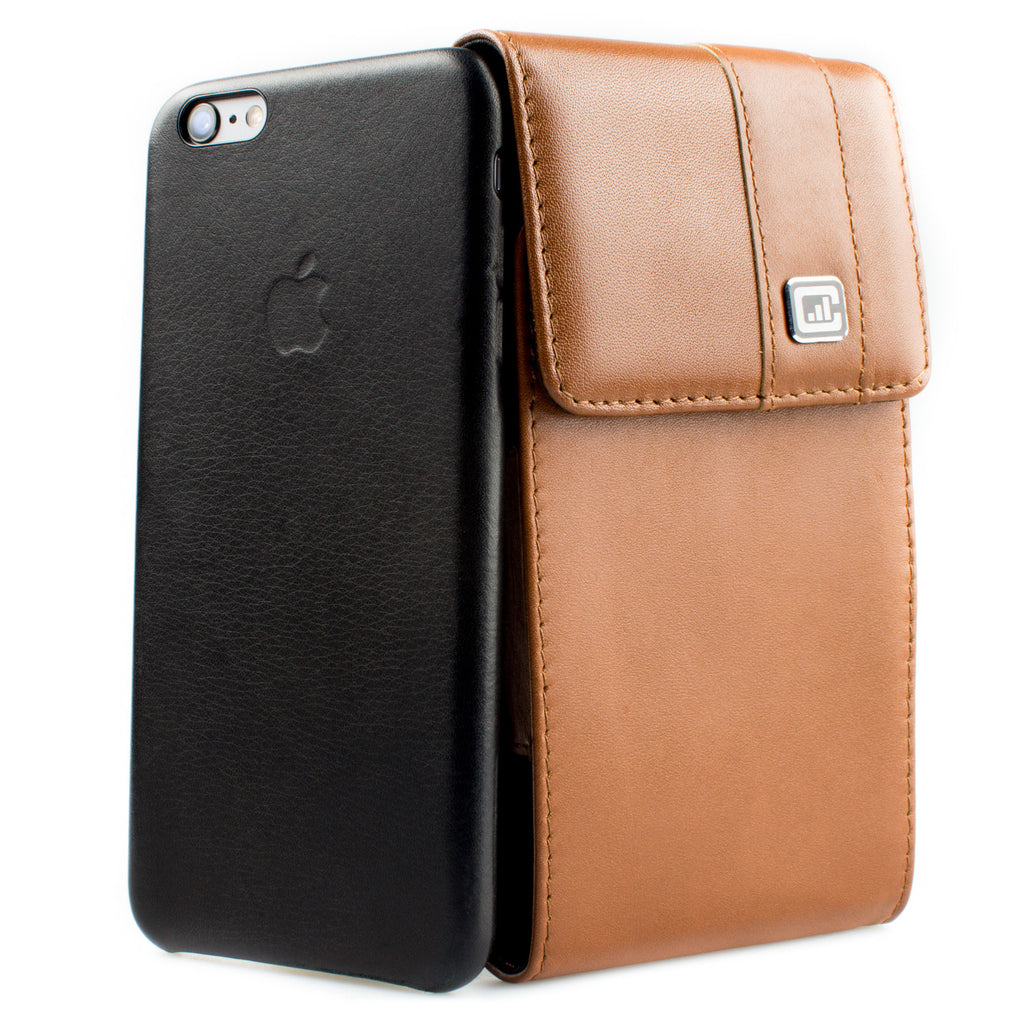 CASE123® MPS Mk II TLS Premium Genuine Leather Oversized Vertical Swivel Belt Clip Holster for Apple iPhone 6/6s Plus (5.5 inch screen) for use with Apple Leather Case, Typical Slim Cases, and TPU Covers - Medium Brown Leather