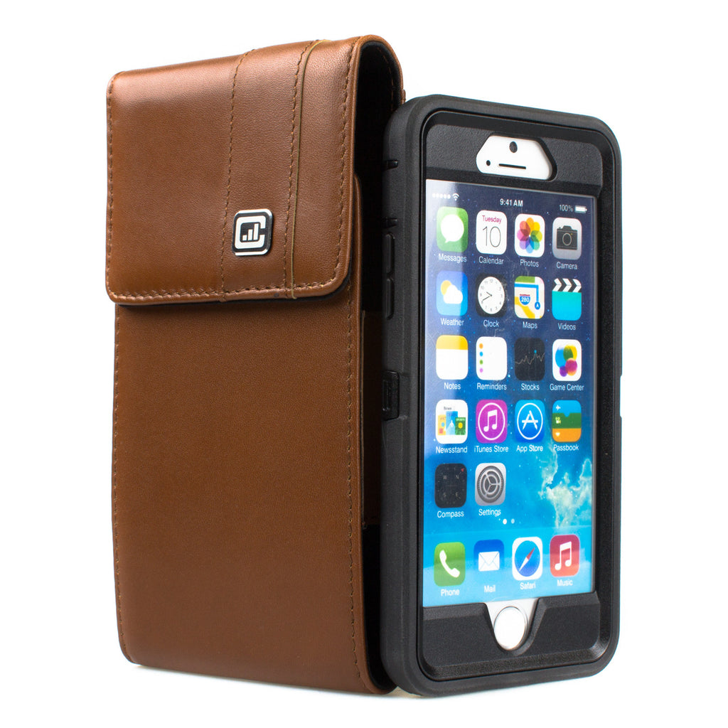 CASE123® MPS Mk II XLR Premium Genuine Leather Vertical Swivel Belt Clip Holster for Apple iPhone 6/6s/7 (4.7 inch screen) for use with Otterbox Defender and Mophie Battery Case - Medium Brown
