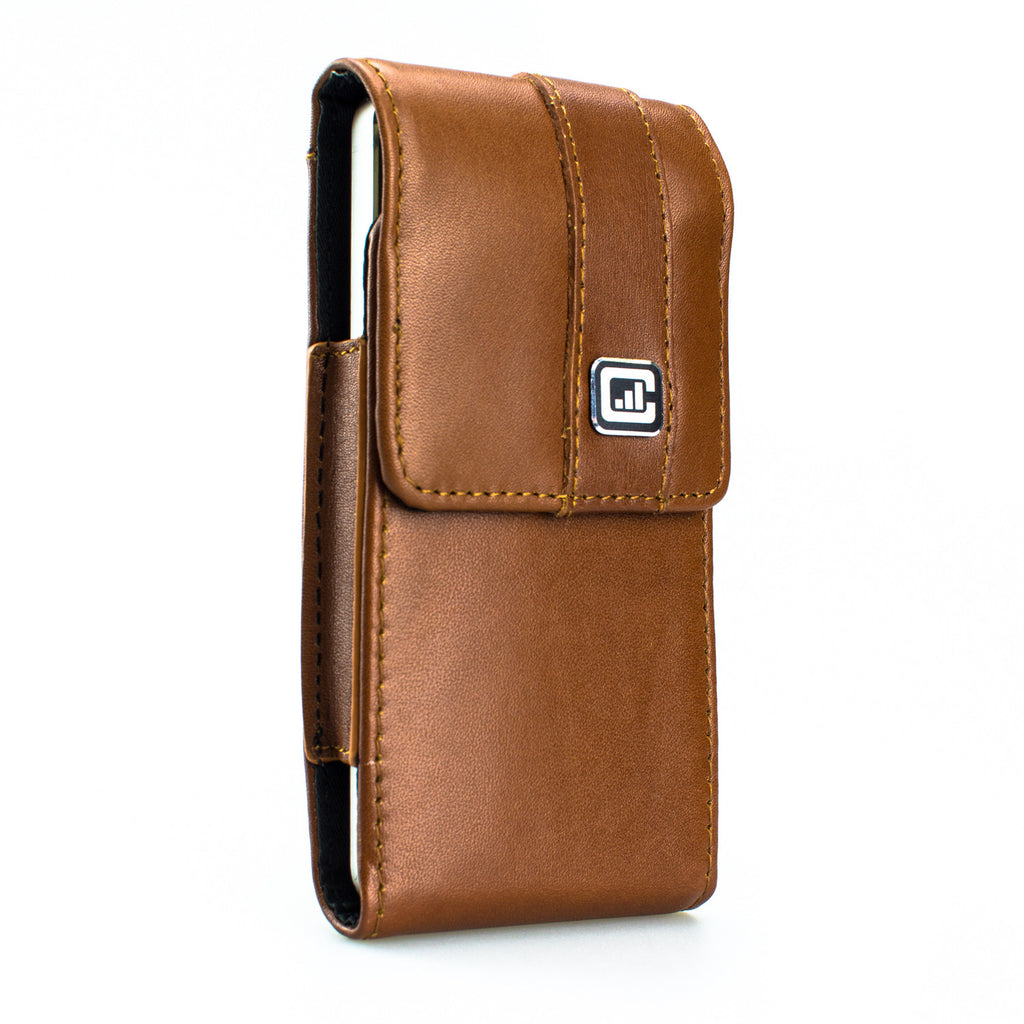 CASE123® MPS Mk II SL Premium Genuine Leather Vertical Swivel Belt Clip Holster for Apple iPhone 5/5s/5c - Medium Brown