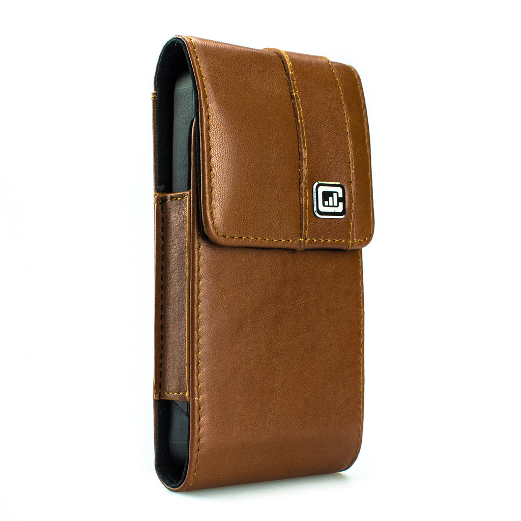 CASE123® MPS Mk II TL Premium Genuine Leather Vertical Swivel Belt Clip Holster for Apple iPhone 5/5s/5c - Medium Brown