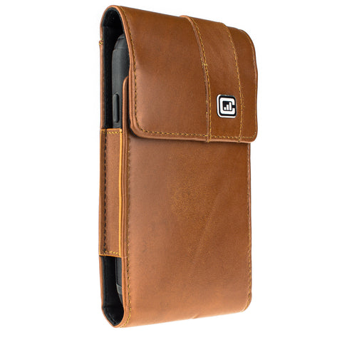 CASE123® MPS Mk II XXL Premium Genuine Leather Vertical Swivel Belt Clip Holster for Samsung Galaxy S5 - Medium Brown