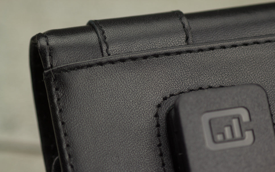 The back side of a CASE123 MPS Mk II Vertical Leather Holsters, details and clean lines