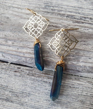 Load image into Gallery viewer, Quartz Crystal Point and Gold Filigree Earrings, Cobalt Blue Crystal Filligree Dangle Earrings, Nickel Free Hypoallergenic, READY TO SHIP